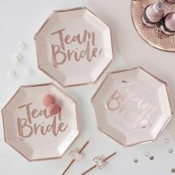 Pak met 8 lichtroze borden met roségouden opdruk Team Bride