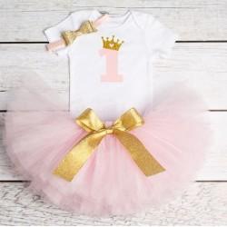 Driedelig 1e verjaardag setje voor een meisje in de kleuren wit, goud en licht roze