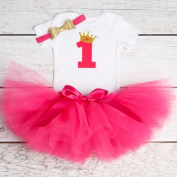 Driedelig 1e verjaardag setje voor een meisje in de kleuren wit, goud en donker roze
