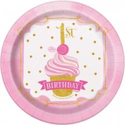 Gold and Pink eerste verjaardag lunch bordjes met een doorsnede 17,5 cm