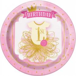Gold and Pink eerste verjaardag bordjes met een doorsnede 22,5 cm