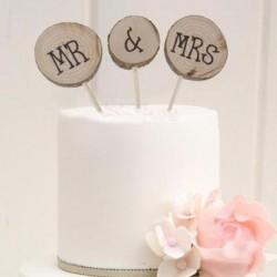 Driedelige set houten bruidstaart toppers Mr & Mrs