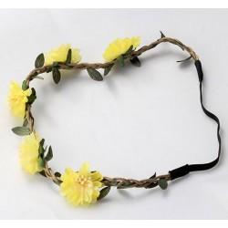 Bohemian style gevlochten haarbandje met blaadjes en gele bloemen