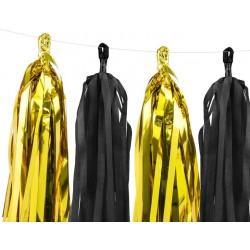 DIY tassel slinger set met een mix van 12 zwarte en gouden tassels en 2 meter wit touw