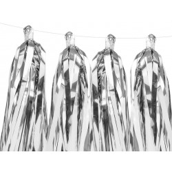 DIY tassel slinger set met 12 zilveren tassels en 2 meter wit touw