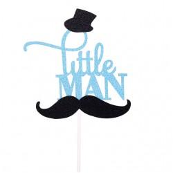 Taart topper Little Man Mostache zwart met blauw