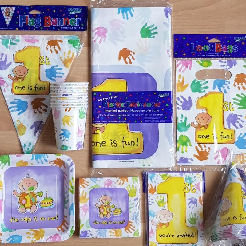 One is fun decoratie pakket voor een 1e verjaardag 50 delig for Decoratie verjaardag
