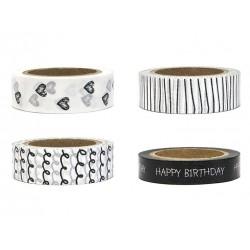 Set met 4 rolletjes washi tape Happy Birthday zwart en wit