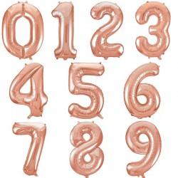Reuze folie cijfer ballon 92 cm rose goud