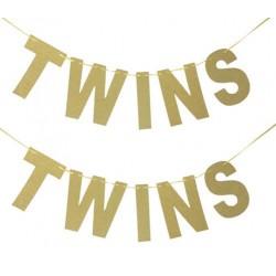 Gouden glitter letterbanner Twins