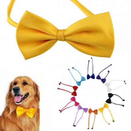 Honden strikje met handige verstelbare sluiting geel