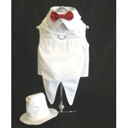 Luxe wit honden jacquet met hoed en rode strik