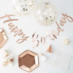 Trendy en stijlvol Rose Gouden Happy Birthday decoratie pakket