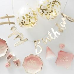 Trendy en stijlvol goud met roze ombre Happy Birthday decoratie pakket