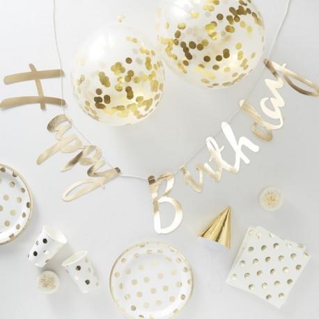 Trendy en stijlvol goudfolie met ivoor Happy Birthday decoratie pakket