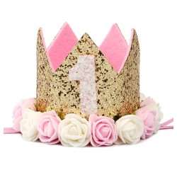 Aandoenlijk glitter hoedje voor de eerste verjaardag van een meisje
