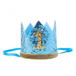 Aandoenlijk glitter hoedje voor de eerste verjaardag van een jongen