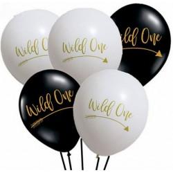 Ballonnen Wild One Tribal zwart en wit met goudkleurige opdruk
