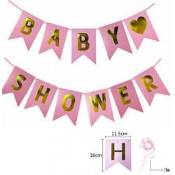 Babyshower banner met goudkleurige letters op een roze achtergrond