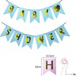 Babyshower banner met goudkleurige letters op een blauwe achtergrond