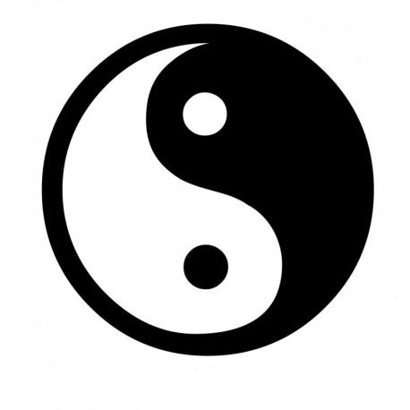 Ronde zwart witte Ying Yang sticker