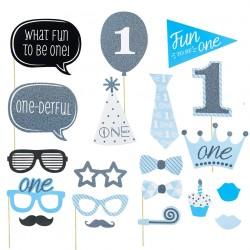 Set met 11 originele fotoprops voor de eerste verjaardag van een jongen