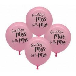 Ballonnen voor het vrijgezellenfeest roze met in zwart de tekst Goodbye Miss Hello Mrs