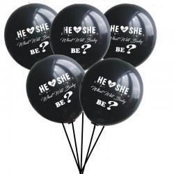 Pak met vijf zwarte gender reveal ballonnen met in wit de tekst He or She what will Baby Be