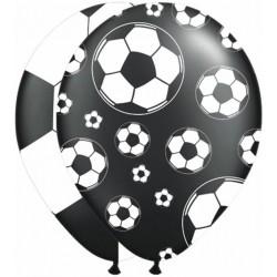 Zak met 8 ballonnen voetbal zwart met wit