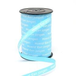 Rol krullint Hoera een Jongen licht blauw met witte tekst