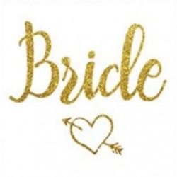 Goudkleurige tatoeage Bride met een hartje