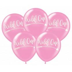 Pak met 5 Wild One Tribal ballonnen roze