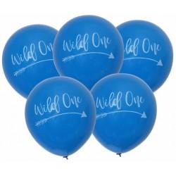 Pak met 5 Wild One Tribal ballonnen blauw