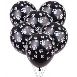 Pak met 5 zwarte ballonnen met witte honden pootjes