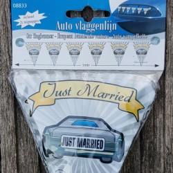 Auto vlaggenlijn Just Married inclusief 2 zuignapjes