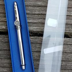 Luxe verzilverde pen Tennis Player in een mooie geschenkdoos