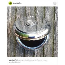 Luxe verzilverde spiegel Tennis in een geschenkdoos