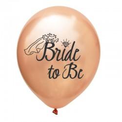Ballonnen voor het vrijgezellenfeest rose goud met in zwart de tekst Bride to Be met sluier en diamant