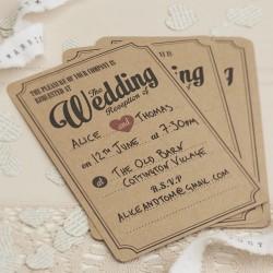 Pak met 10 vintage Wedding Reception uitnodigingen met bijpassende envelop