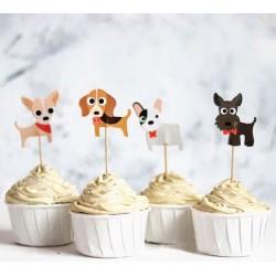 Pak met 24 cupcake prikkers Dogs