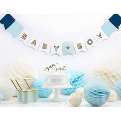Banner Baby Boy wit en blauw met goud