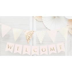 Banner Welcome heel licht roze met goud