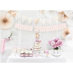 Banner Just Married heel licht roze met goud