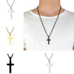 Mannen ketting Cross zilver, goud of zwart