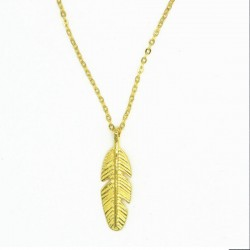 Unisex ketting Feather zilver of goud