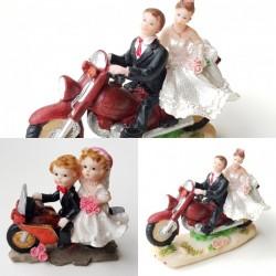 Bruidstaart topping bruidspaar op rode motor in 2 uitvoeringen