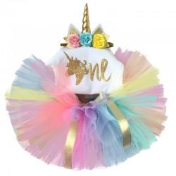 Driedelig 1e verjaardag setje Unicorn in regenboog kleuren