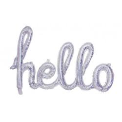 Folie ballonnen die het woord Hello vormen holografisch zilver