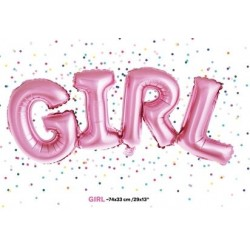Folie ballonnen die het woord Girl roze