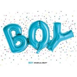Folie ballonnen die het woord Boy blauw vormen